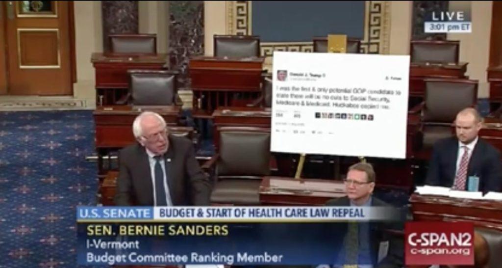 sanders with trump tweet senate floor